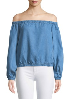 7 For All Mankind Off-the-Shoulder Blouson-Sleeve Chambray Top