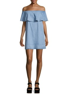 7 For All Mankind Off-The-Shoulder Chambray Dress