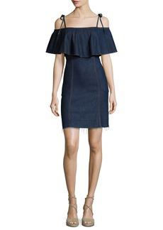 7 For All Mankind Off-the-Shoulder Denim Mini Dress