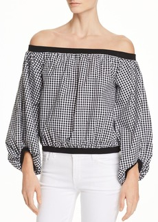 7 For All Mankind Off-the-Shoulder Gingham Top