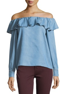 7 For All Mankind Off-the-Shoulder Ruffle Chambray Top