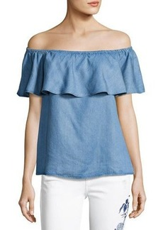 7 For All Mankind Off-The-Shoulder Ruffle Denim Top