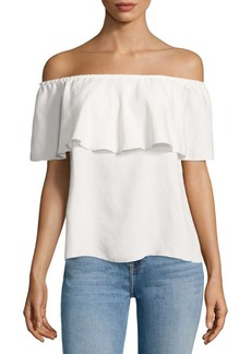 7 For All Mankind Off-the-Shoulder Ruffled Blouse