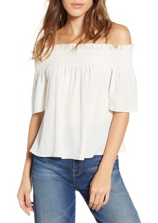 7 For All Mankind® Off the Shoulder Smocked Silk Top