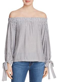 7 For All Mankind Off-the-Shoulder Striped Top