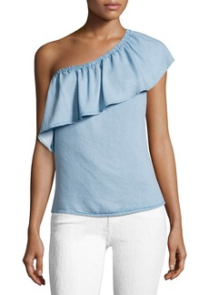7 For All Mankind One-Shoulder Ruffled Denim Top