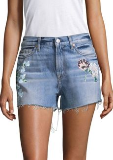 7 For All Mankind Painted Floral Denim Shorts