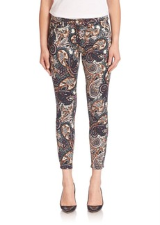 7 For All Mankind Paisley-Print Skinny Ankle Jeans
