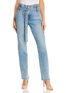 7 For All Mankind Paper-Bag-Waist Straight Jeans in Vail