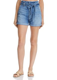 7 For All Mankind Paperbag-Waist Denim Shorts in Bright Bluejay