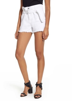 7 For All Mankind® Paperbag Waist Denim Shorts (Optic White)