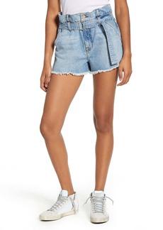 7 For All Mankind® Paperbag Waist Denim Shorts (Prairie Sky)