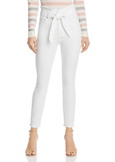 7 For All Mankind Paperbag-Waist Jeans in White Runway Denim