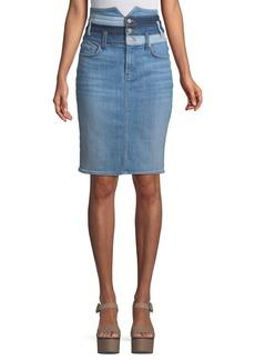 7 For All Mankind Patchwork Straight Denim Skirt