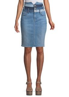 Patchwork Straight Denim Skirt
