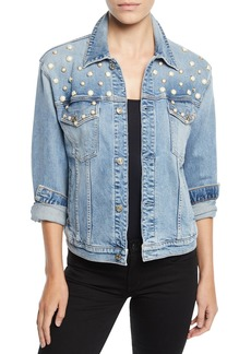 7 For All Mankind Pearl-Embellished Boyfriend Trucker Denim Jacket