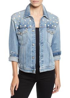 7 For All Mankind Pearl-Embellished Boyfriend Trucker Denim Jacket