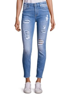 7 For All Mankind Peek-A-Boo Sequin Distressed Skinny Ankle Jeans