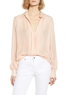 7 For All Mankind® Pleated Placket Silk Blend Shirt