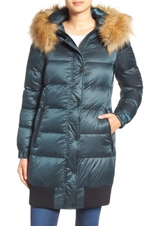 7 For All Mankind Quilted Coat with Removable Faux Fur Trim Hood