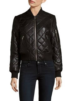 7 For All Mankind Quilted Leather Baseball-Collar Jacket