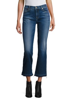 7 For All Mankind Raw-Edge Cropped Flared Jeans