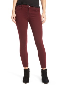 7 For All Mankind® Raw Hem Ankle Skinny Jeans (Merlot)