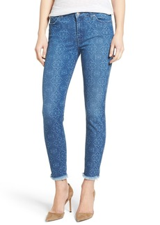 7 For All Mankind® Raw Hem Ankle Skinny Jeans (Mosaic Laser Denim)