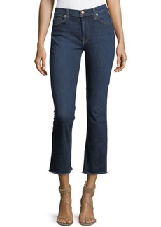 7 For All Mankind Raw-Hem Crop Boot-Cut Jeans