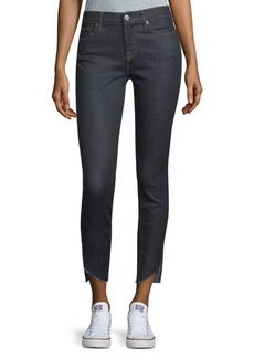 7 For All Mankind Raw-Hem Skinny Ankle Jeans