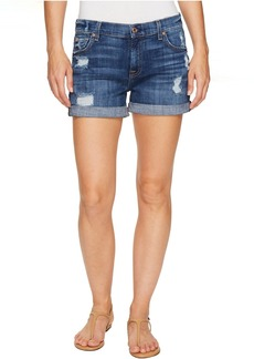 7 For All Mankind Relaxed Mid Roll Shorts w/ Destroy in Barrier Reef Broken Twill