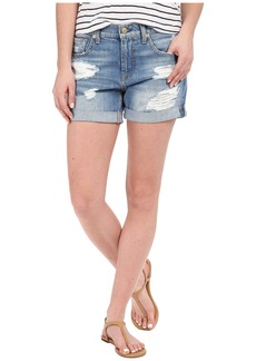 7 For All Mankind Relaxed Mid Roll Shorts w/ Destroy in Rigid Blue Orchid