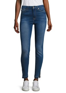7 For All Mankind Released Hem Slit High-Waist Skinny Jeans