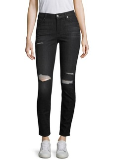 7 For All Mankind Ripped Ankle Skinny Jeans