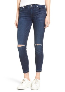 7 For All Mankind® Ripped Ankle Skinny Jeans (Dark Brisbane 3)
