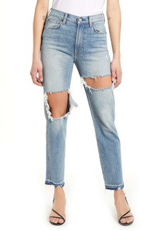 7 For All Mankind® Ripped High Waist Ankle Straight Leg Jeans (Toredhem)