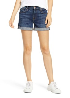 7 For All Mankind® Roll Cuff Denim Shorts (Broken Twill Vanity Destroy)
