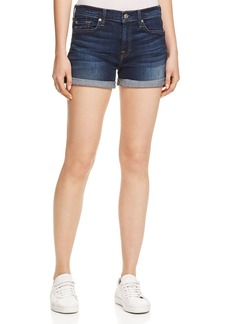 7 For All Mankind Roll Cuff Denim Shorts in Midnight Rain