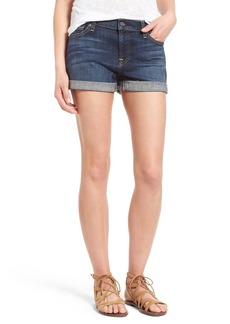 7 For All Mankind® Roll Cuff Denim Shorts (Nouveau NY Dark)