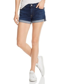 7 For All Mankind Roll-Up Denim Shorts in Serrano Night