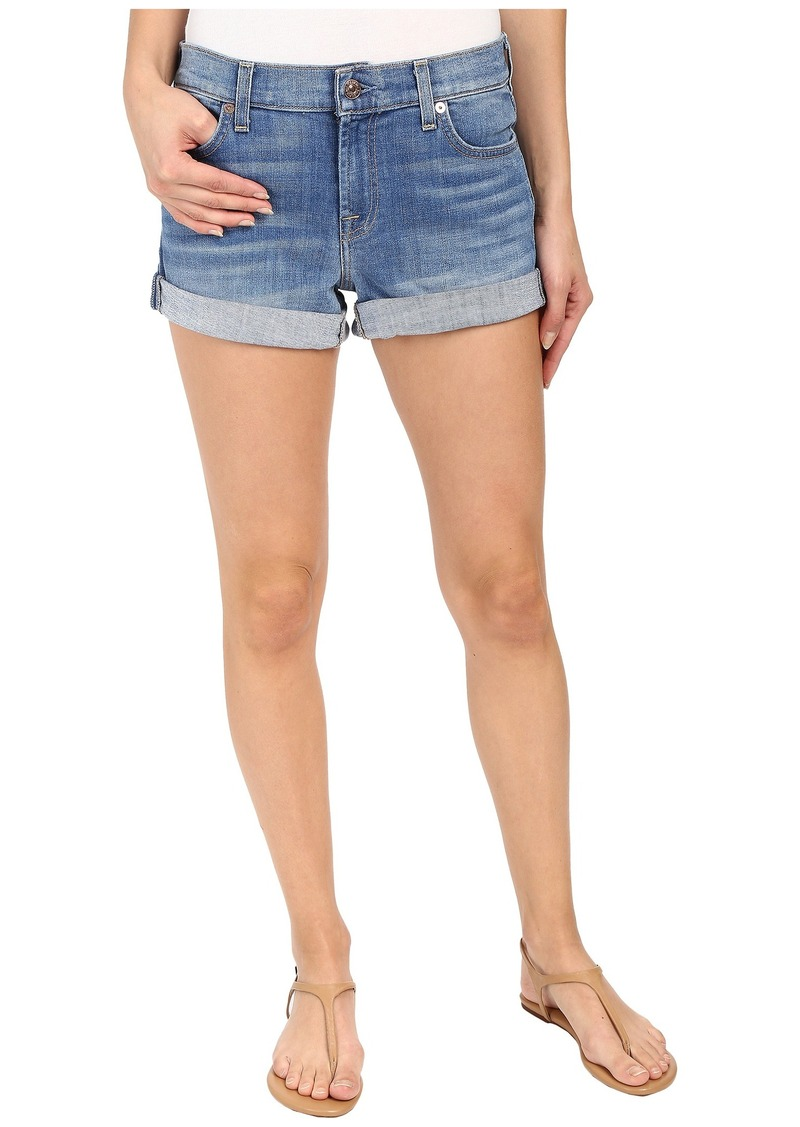 7 For All Mankind Roll Up Shorts in Vivid Authentic Blue