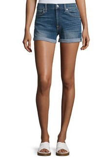 7 For All Mankind Roll-Up Stretch-Denim Shorts