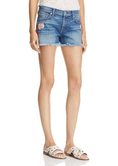 7 For All Mankind Rose Embroidered Cutoff Shorts - 100% Exclusive