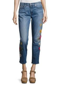 7 For All Mankind Rose Garden Embroidered Boyfriend Jeans