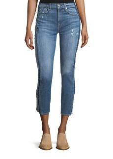 7 For All Mankind Roxanne Ankle Skinny Jeans w/ Frayed Tux Stripe