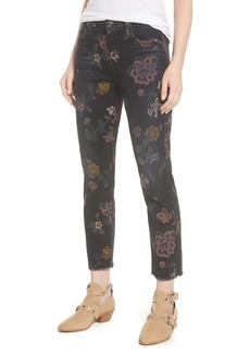 7 For All Mankind® Roxanne Floral Print Ankle Slim Jeans (Print on Noir)