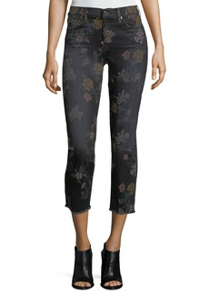 7 For All Mankind Roxanne Floral-Print Skinny Ankle Jeans w/ Raw Hem