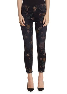 7 For All Mankind Roxanne Washed Floral-Print Raw-Hem Jeans