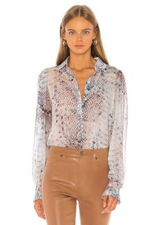 7 For All Mankind Ruffle Cuff Button Up Top