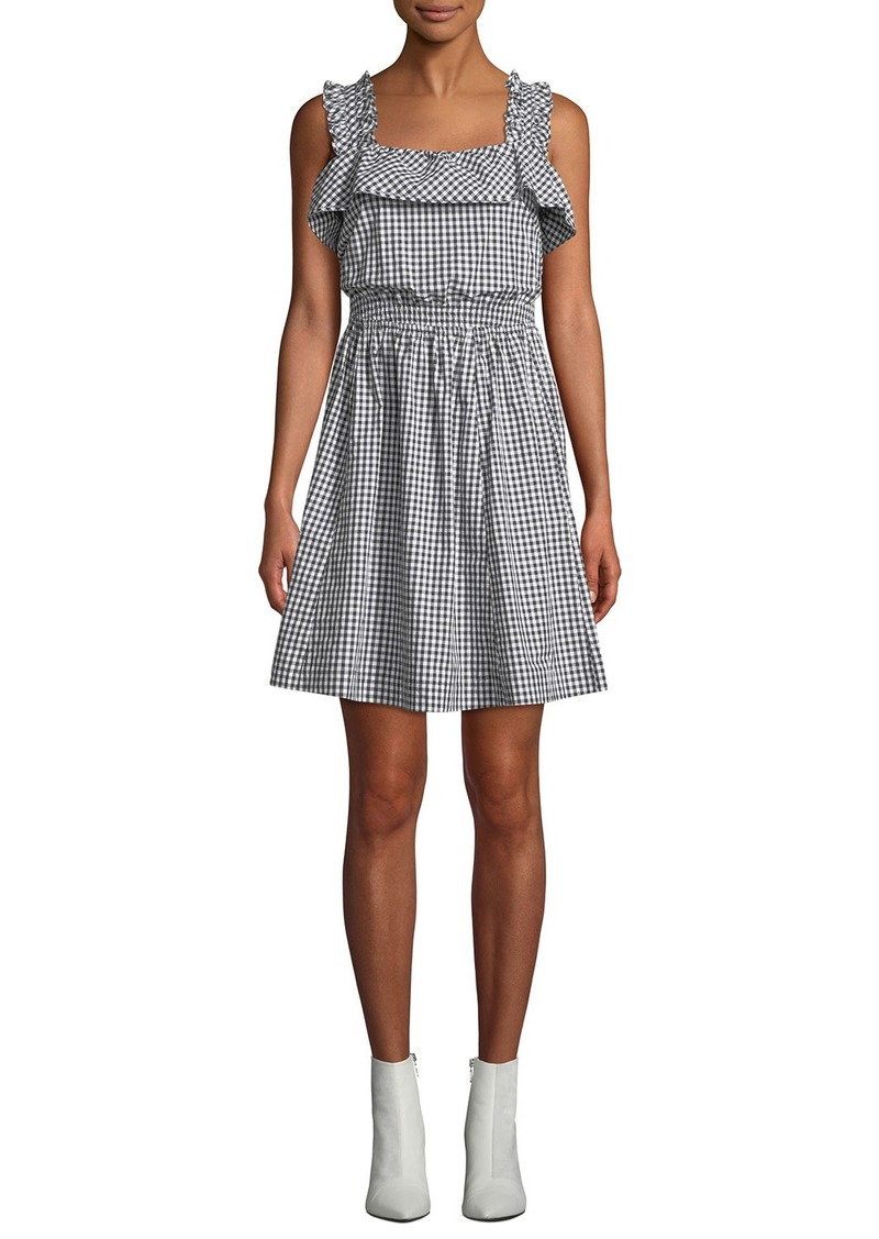 7 For All Mankind Ruffled Gingham Tie-Back Fit-and-Flare Dress